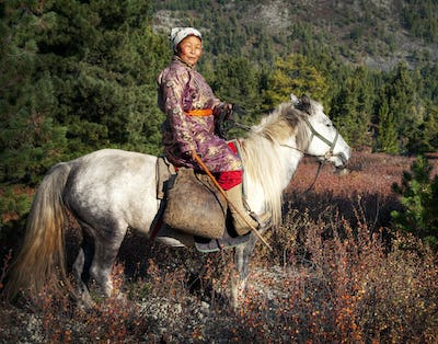 Woman Riding A Horse In A Scenic View