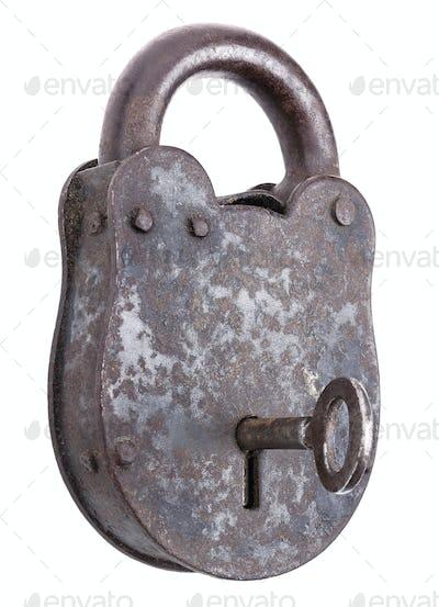 Locked Medieval Padlock With Key