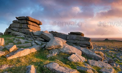 Sunset over Staple Tor