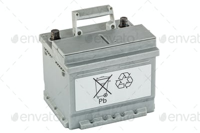 Recycling of lead-acid batteries, isolated on white background