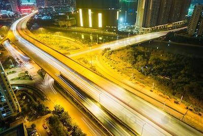 urban road closeup at night