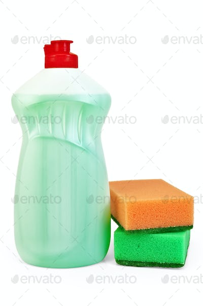 Bottle of detergent and sponges