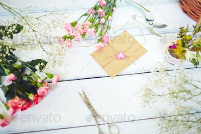 Flowers and letter