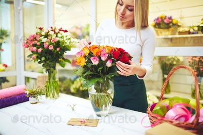 Working in flower shop