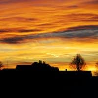 Village during sunset