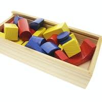 Wooden Building Blocks in Box
