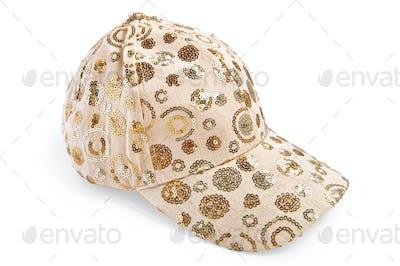 Cap beige patterned