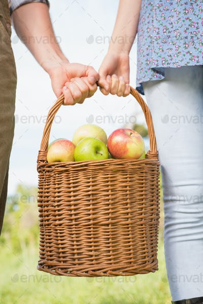 Couple holding basket of apples on a sunny day