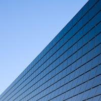 Modern facade with black glass