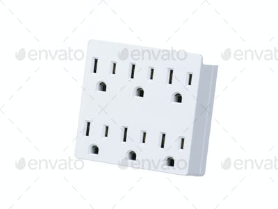 Multi socket-outlet isolated on white background