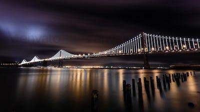 San Francisco-Oakland Bay Bridge at night