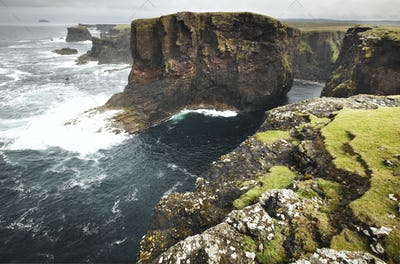 Scottish coastline landscape in Shetland islands. Scotland. UK. Horizontal