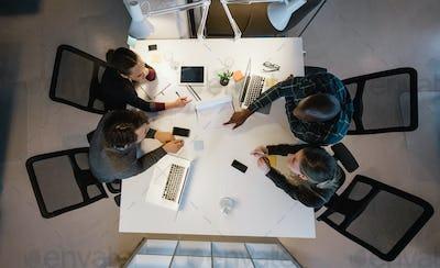 Diverse team analyzing data