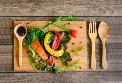 Ingredients of Fresh vegetable salad