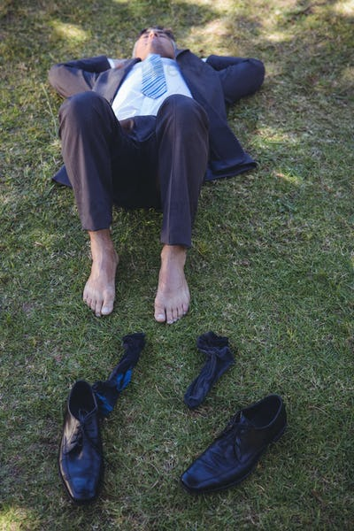 Businessman relaxing in the park on a sunny day