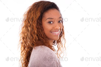 Happy young african american isolated on white background - Blac