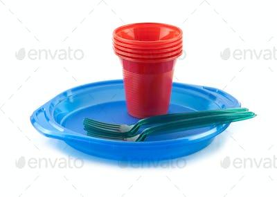 plastic tableware isolated