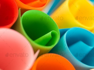 colorful rolled up paper