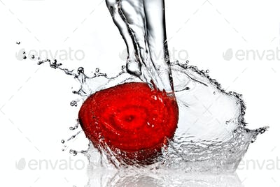 red beet with water splash isolated on white