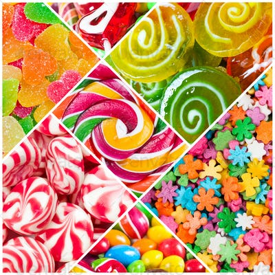Collage of candy and sweets