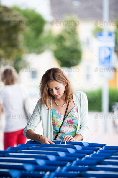 Beautiful young woman going shopping for groceries (color toned