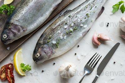 Two fresh trouts seasoned