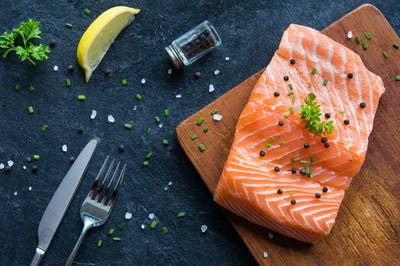 Fresh salmon fillet with pepper