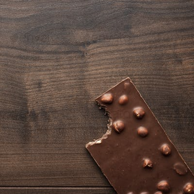 Nibbled Chocolate Bar With Whole Hazelnuts