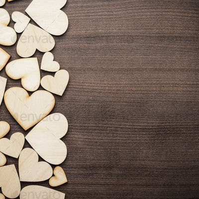 Wooden Heart Shapes On The Table