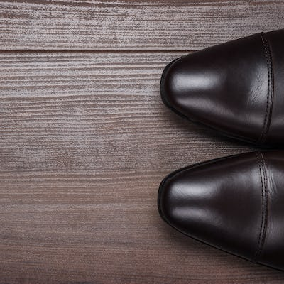 Shoes On The Wooden Floor Background