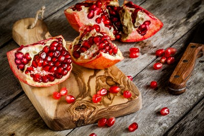 Pomegranate open with seeds