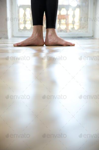Closeup image of a man`s legs