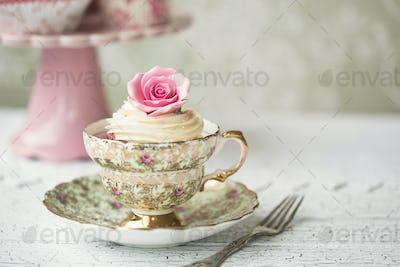 Cupcake in a vintage teacup