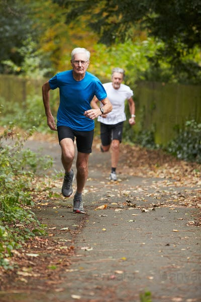 Two Mature Male Joggers Running Along Path