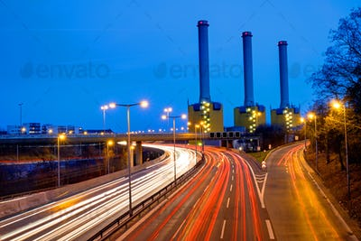 Power station and highway in Berlin