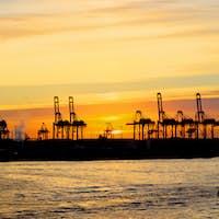 Sunset at the Hamburg harbour