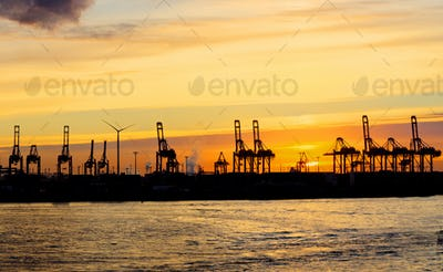 Sunset at the Hamburg harbour