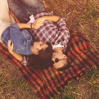 Landscape portrait of young beautiful stylish couple sensual and