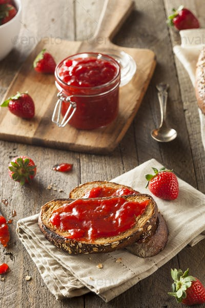 Homemade Strawberry Jelly on Toast