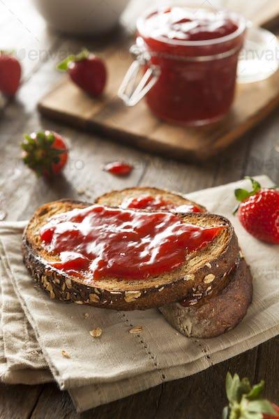 Homemade Strawberry Jelly on Toast