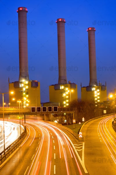 Highway and power station in Berlin