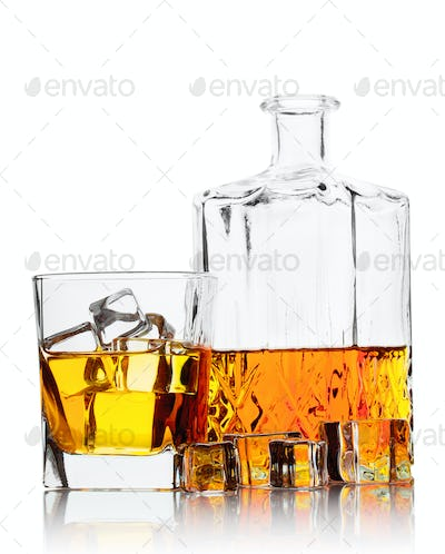 Bottle and a glass of whiskey with ice