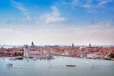Venice aerial view, Grand Canal and santa Maria della Salute chu