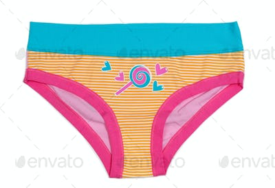Women's striped panties, orange and blue with applications