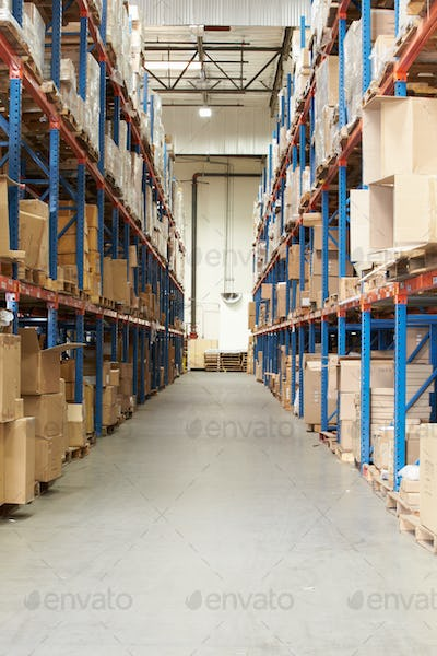 Interior Of Warehouse With Goods On Shelves