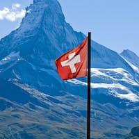 Swiss flag with the Matterhorn