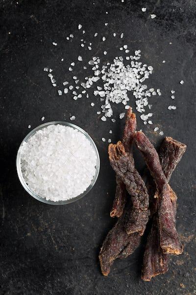 beef jerky and salt