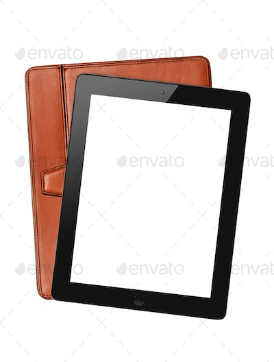 ipad with brown case isolated on white