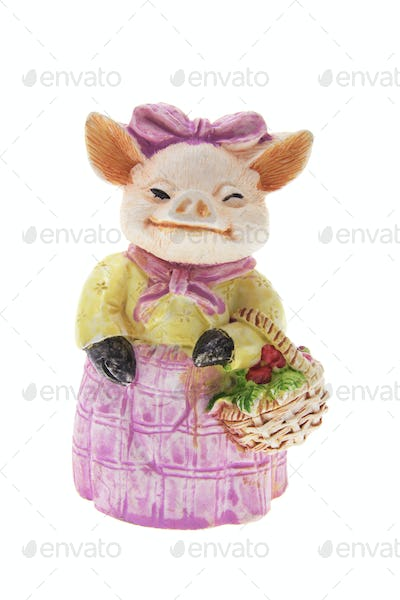 Pig Ornament with Basket