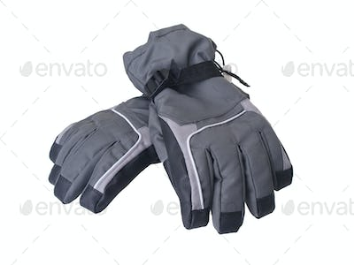 Pair of winter ski gloves isolated on white background